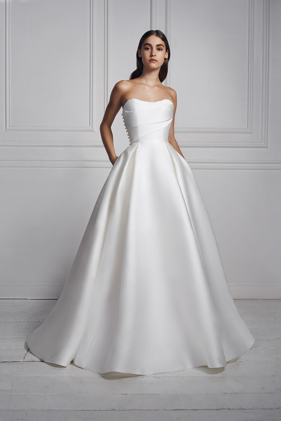 Draped Strapless Wedding Dress Of Mikado With Pleated Ball Gown Skirt By Anne B In 2020 Structured Wedding Dresses Wedding Dresses Strapless Anne Barge Wedding Dresses