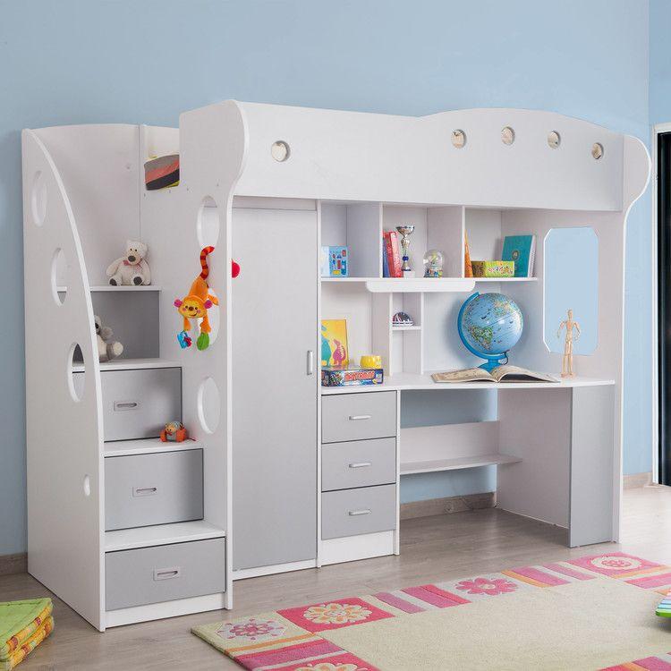 Lit Combine Avec Bureau Et Rangement Couchage 90x190 Cm Combal Lit Mezzanine Enfant Lit Bureau Enfant Lit Mezzanine Bureau