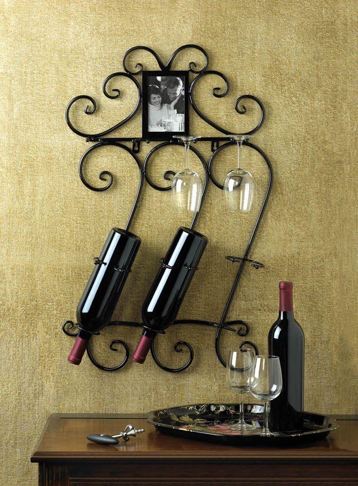 Wine wall mounted bottle holder rack scrollwork bar home decor new ...