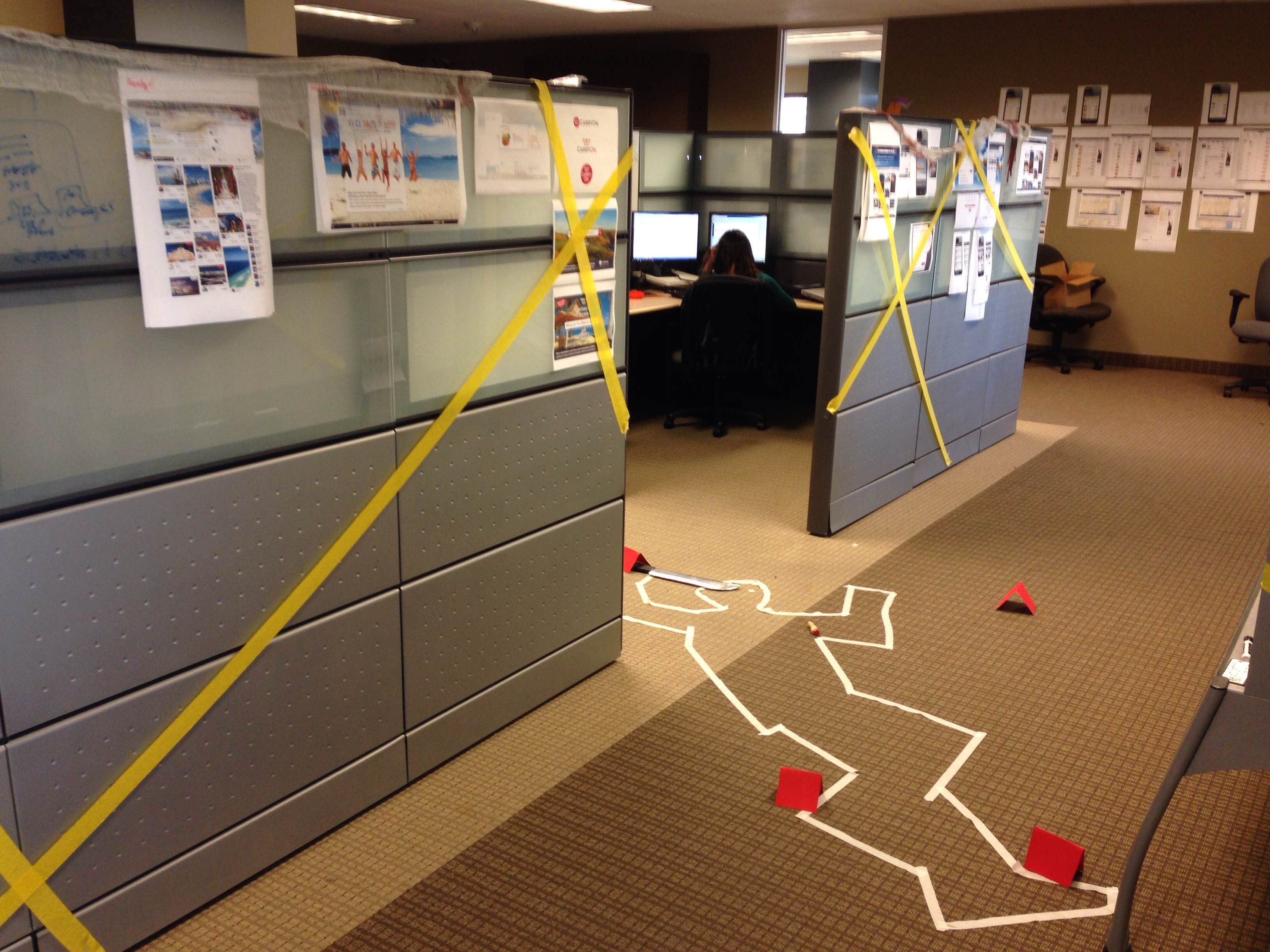 cube decorating contest in the office happy halloween crime scene - Office Halloween Decor