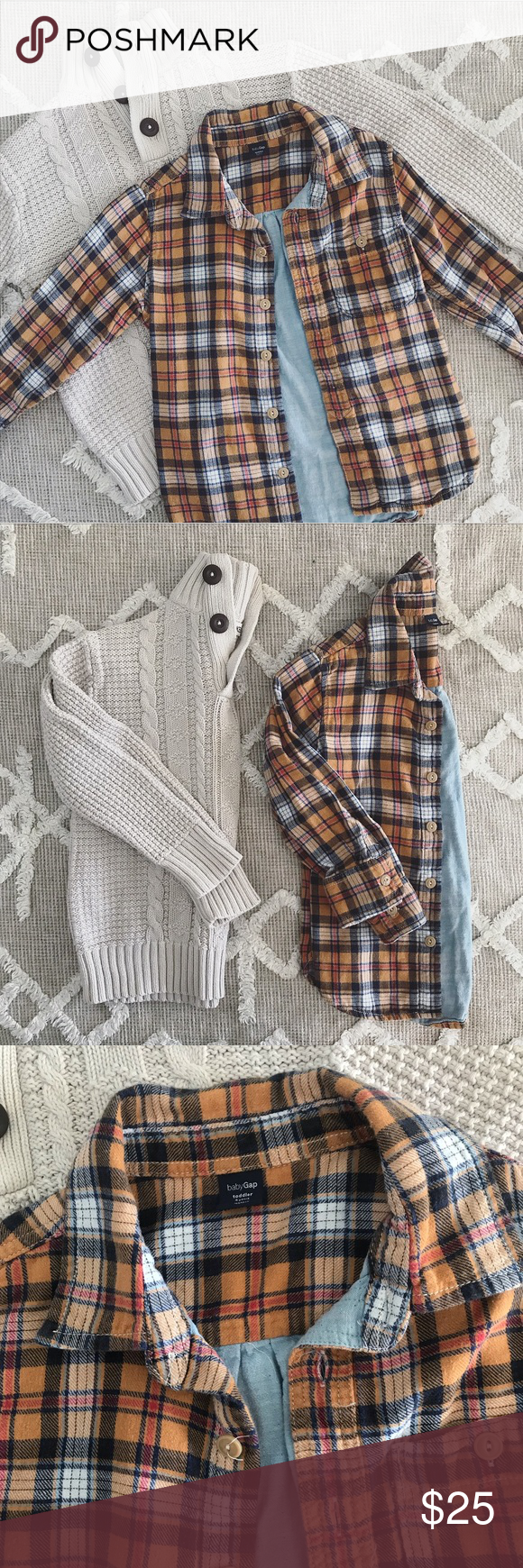 249672822 Boys Flannel Shirt & Pullover Sweater Bundle EUC Baby Gap plaid flannel  shirt with chambray lining