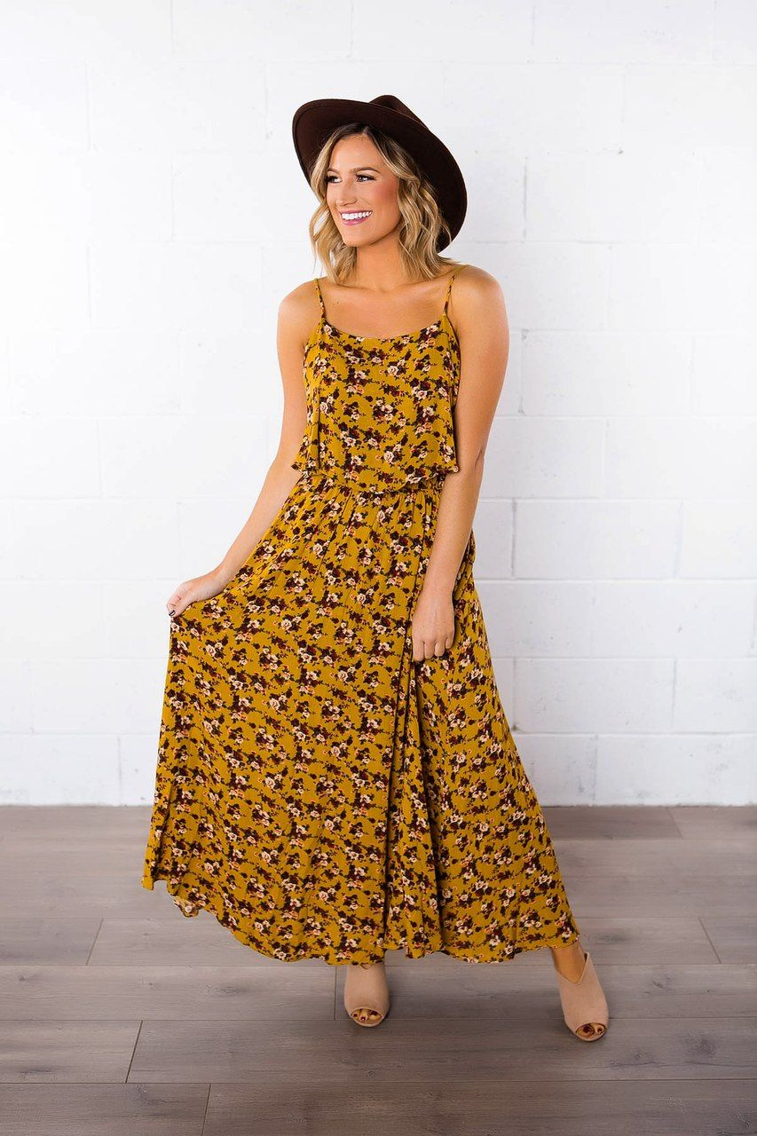eb21187551dd Fall floral perfection! Adorable floral print tank maxi dress with layered  top detail