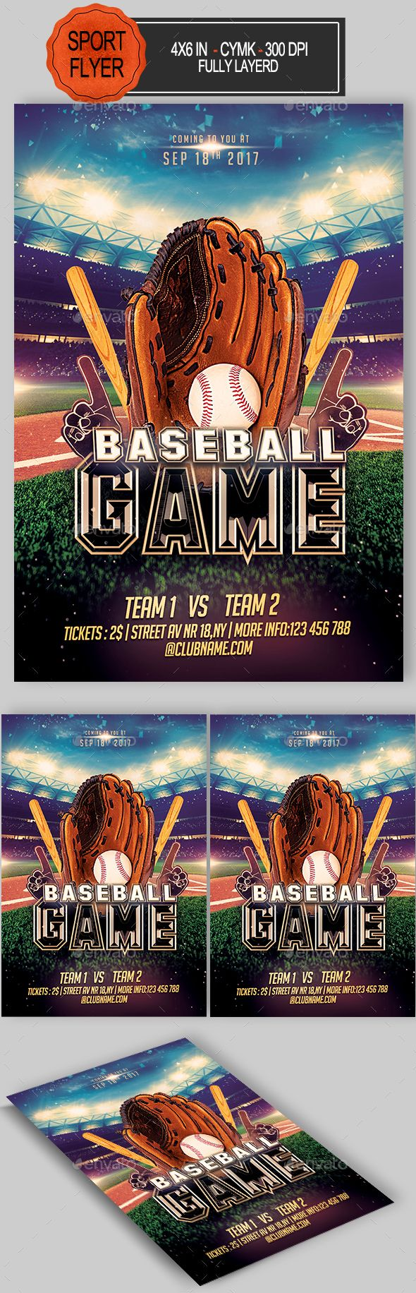 Baseball Flyer  Event Flyers Fonts And Flyer Template