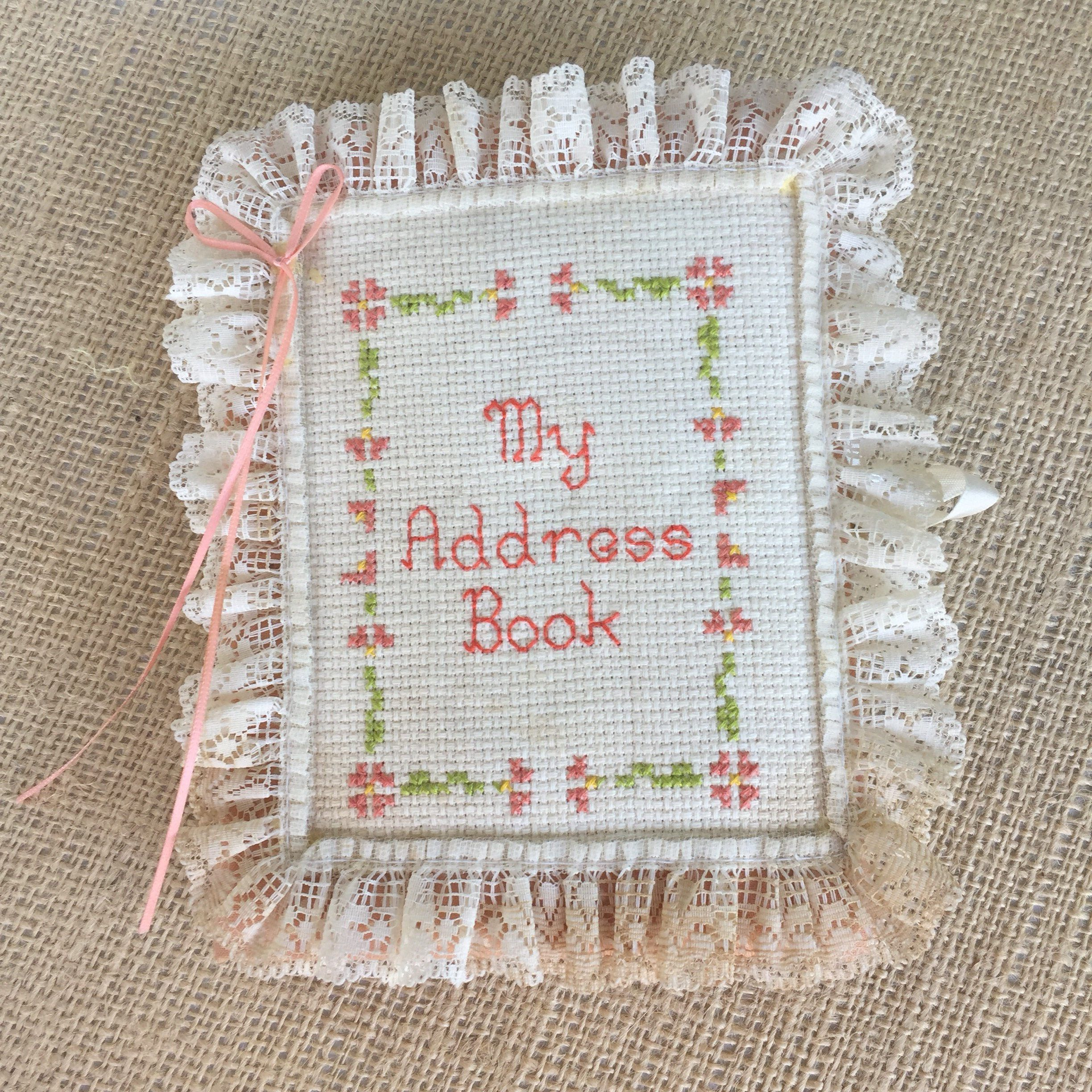 Vintage Address Christmas Card List Book cross Stitch Cover Never ...