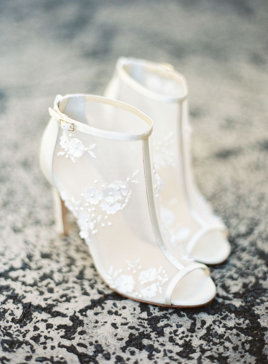 4581a9e30ee Wedding Shoes 3D floral mesh booties with peep toe. Romantic, modern, on-