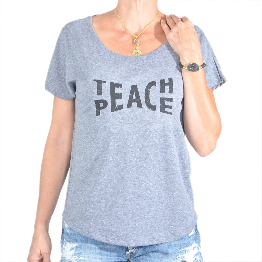 Teach Peace  ~  Grey Wide Neck Graphic Tee Shirt. Size M