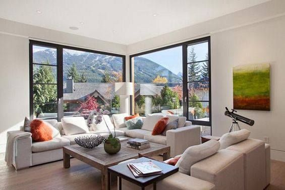 modern living room with an open outside view | home design