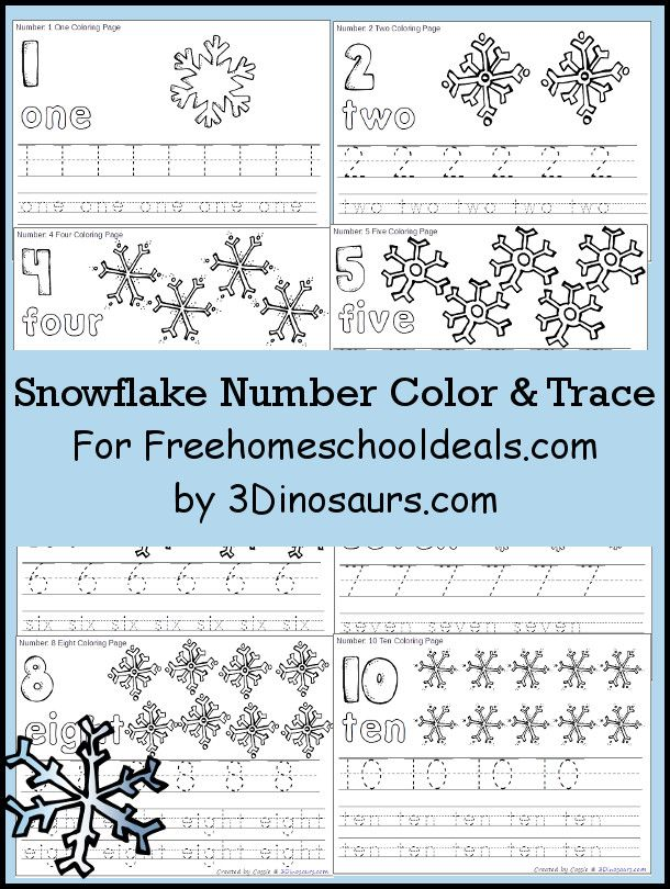 Snowflake Number Color & Trace | Pinterest | Number, Preschool ...