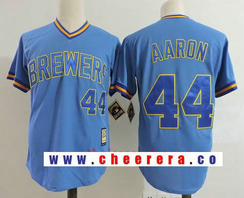 cheaper 40d68 e0b0e Men's Milwaukee Brewers #44 Hank Aaron Light Blue Pullover ...
