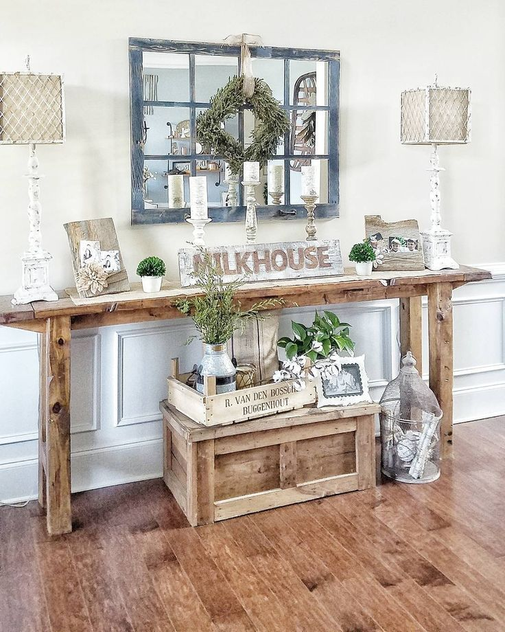 French Country Hallway Ideas Decor: Farmhouse Style Console Table. Rustic Narrow Table