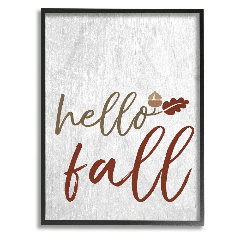 Stupell decor hello fall oak leaves and acorn framed wall art
