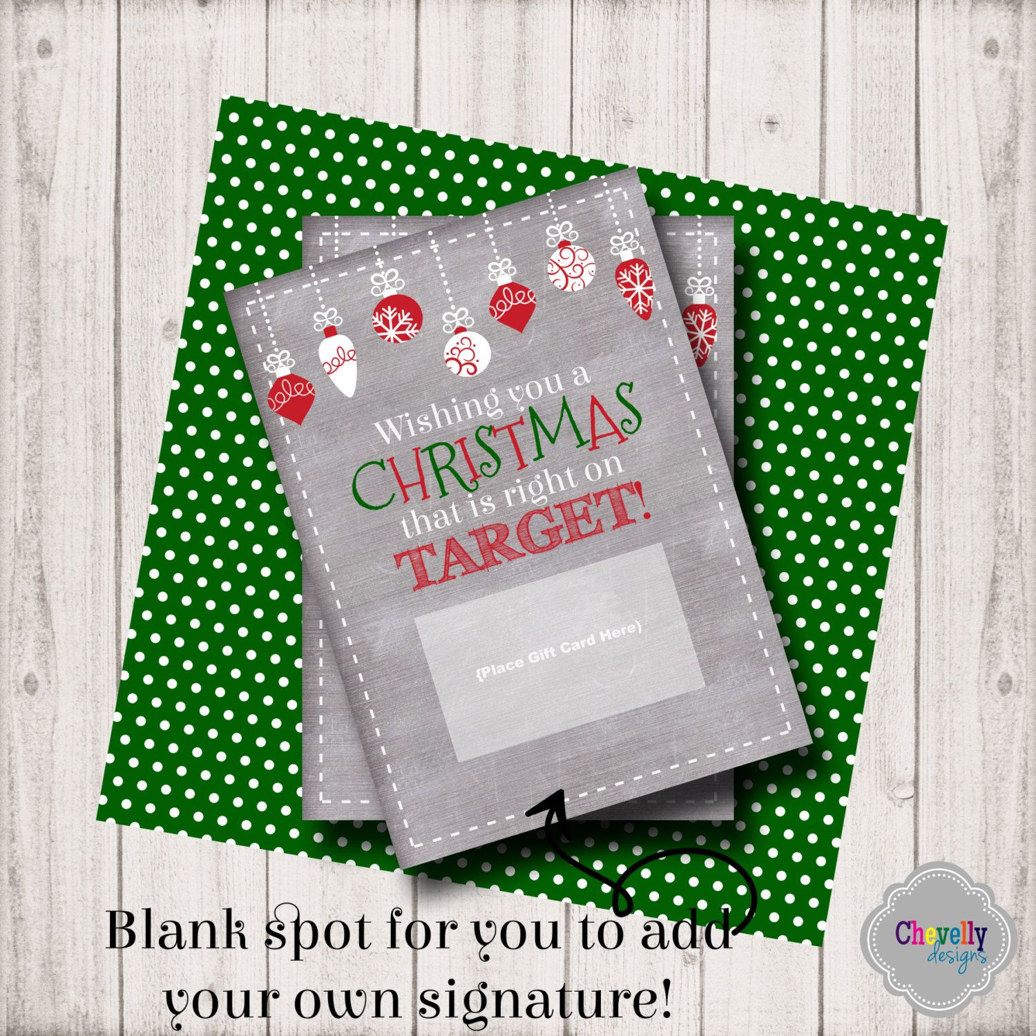 INSTANT DOWNLOAD -Target Christmas Gift Card Printable - XMAS006 ...