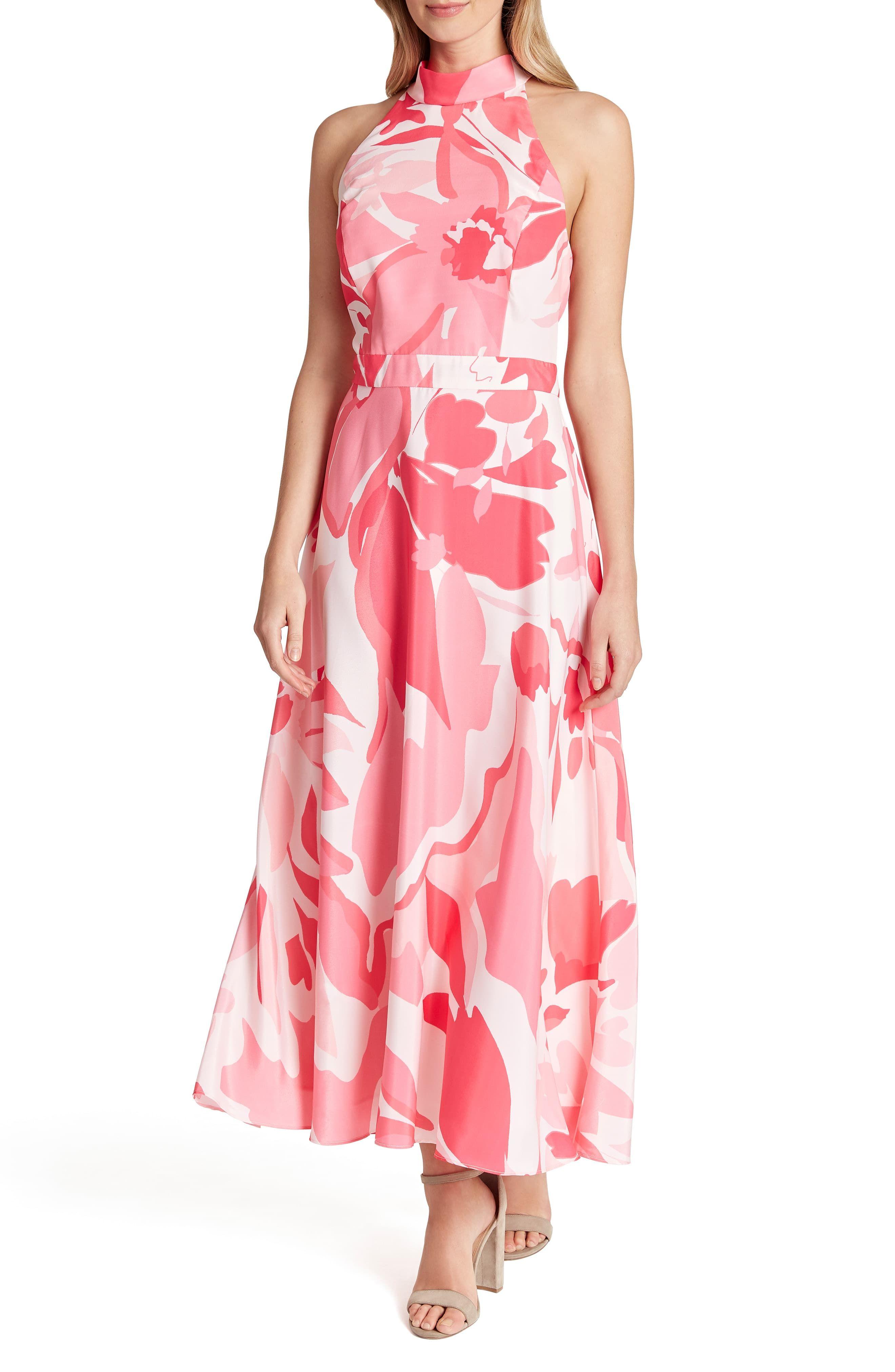 Tahari Printed Halter Maxi Dress Nordstrom Charmeuse Dress Halter Maxi Dresses Pink Maxi Dress [ 4048 x 2640 Pixel ]