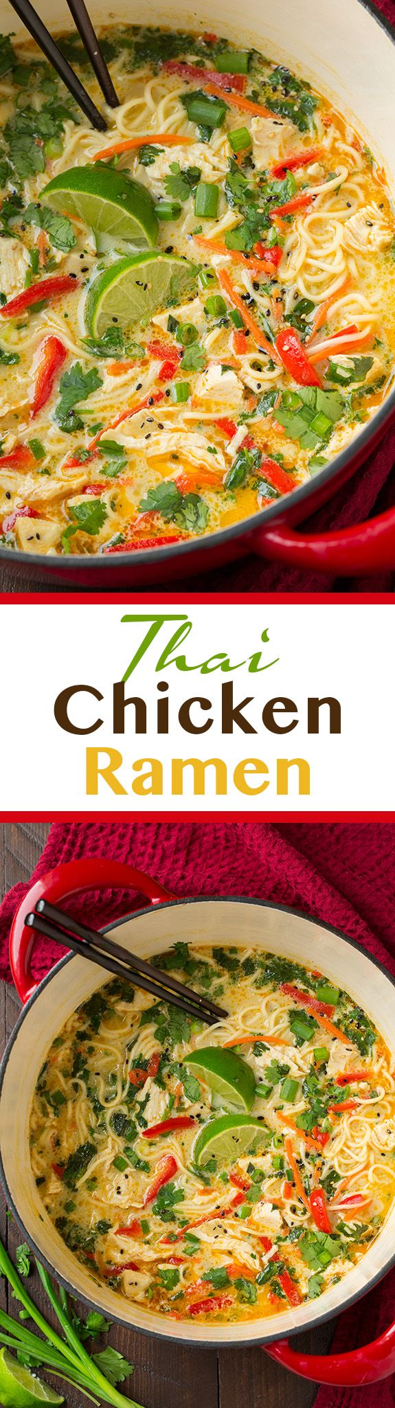 This Chicken Ramen is a comforting Thai-flavored soup that's filled with veggies, tender pieces of chicken and a creamy coconut broth.