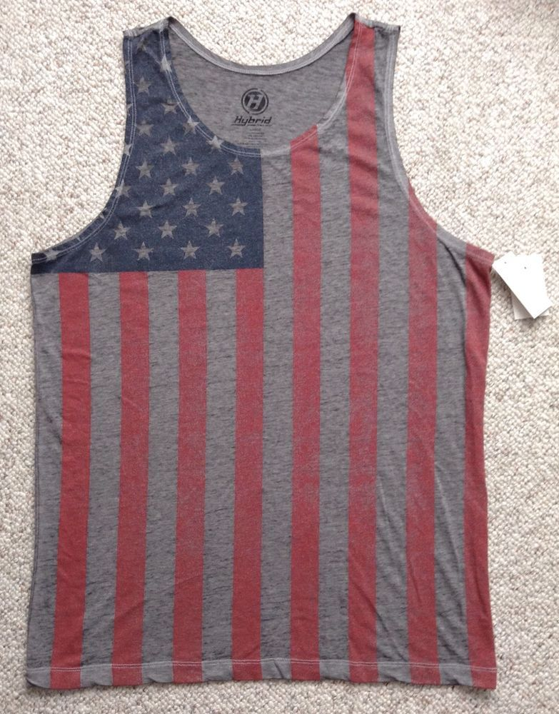 1d834b3b022 Men(L) AMERICAN FLAG TANK TOP Dark Gray Faded Red/Blue USA Stars&Stripes  Burnout #Hybrid #Tank