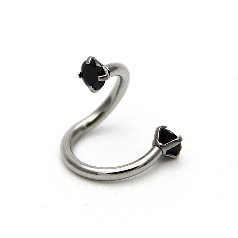 Body piercing jewelry  PCS Stainless Steel S Shaped Fashion Crystal Nose Piercing Twist