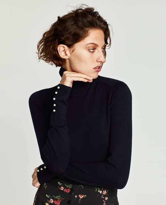 Image 3 of TURTLENECK SWEATER WITH PEARL BUTTONS from Zara  c03628e3f
