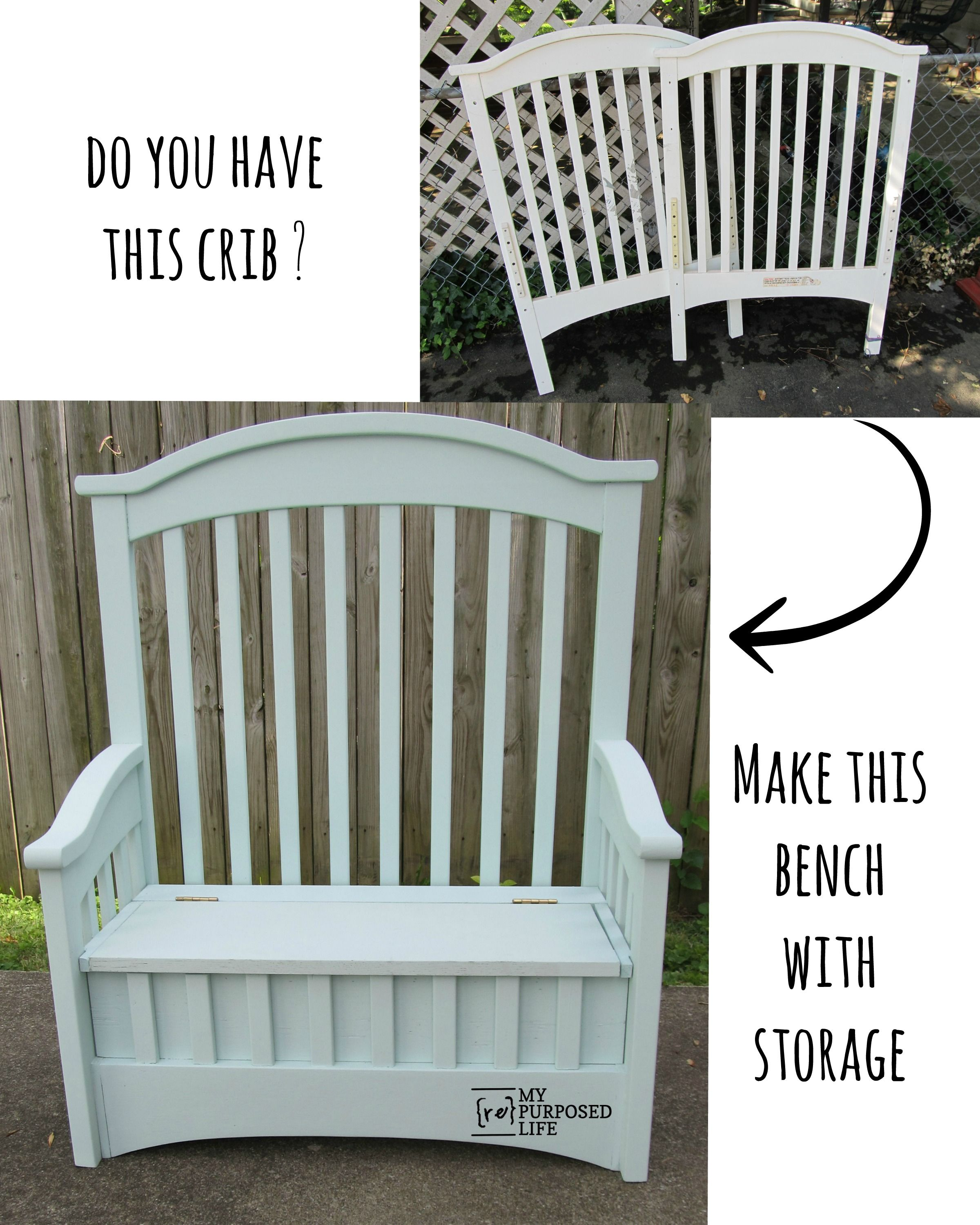 Upcycled Crib into Toy Box Bench Diy furniture