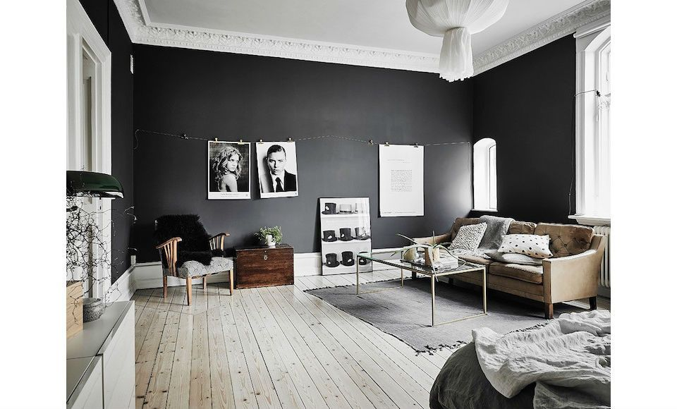 Zwarte muren woonkamer inspiratie man man kleur woonkamer