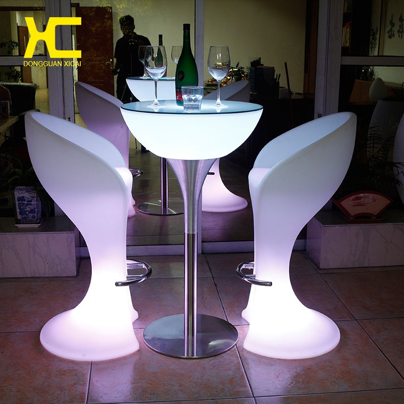 Led Luminous Bar Stool Tail Table Color Changing Wine Drinking