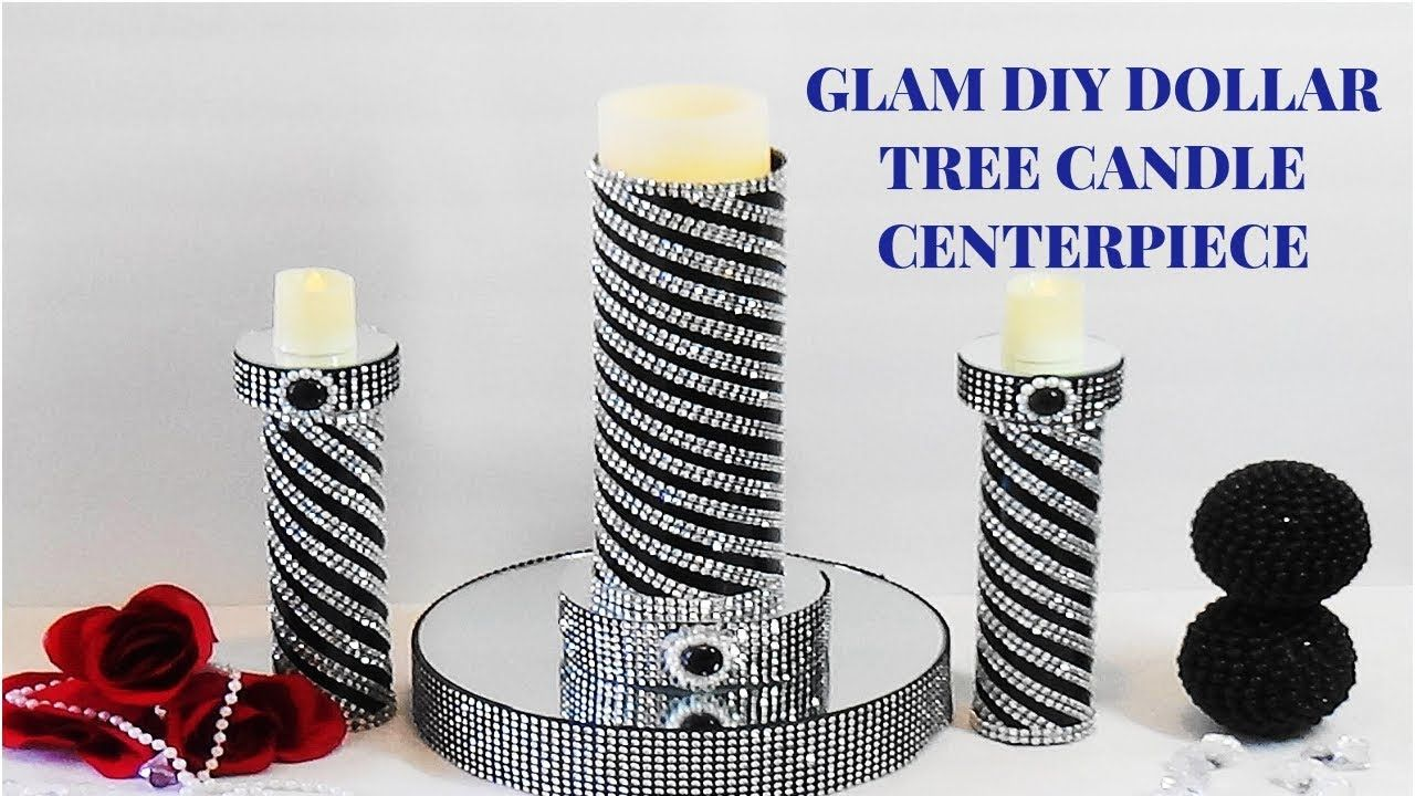 Glam diy dollar tree candle holder centerpiece youtube you tube