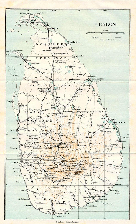 1924 vintage map of ceylon sri lanka 22 00 via etsy