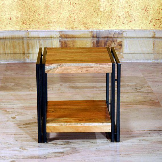 Mesa de centro madera maciza de diseño de metal por trendsdeco