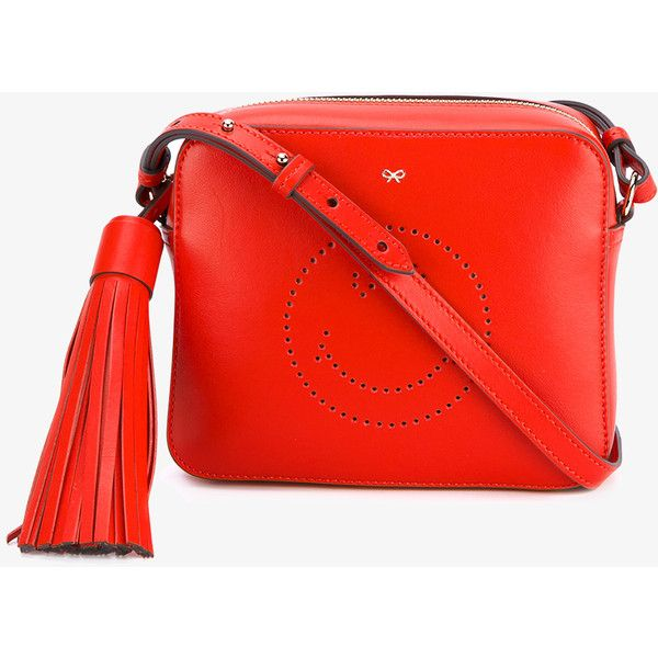 Anya Hindmarch Smiley Leather Cross Body Bag ($610) ❤ liked on Polyvore featuring bags, handbags, shoulder bags, red crossbody, crossbody purses, red shoulder bag, leather handbags and red leather handbags