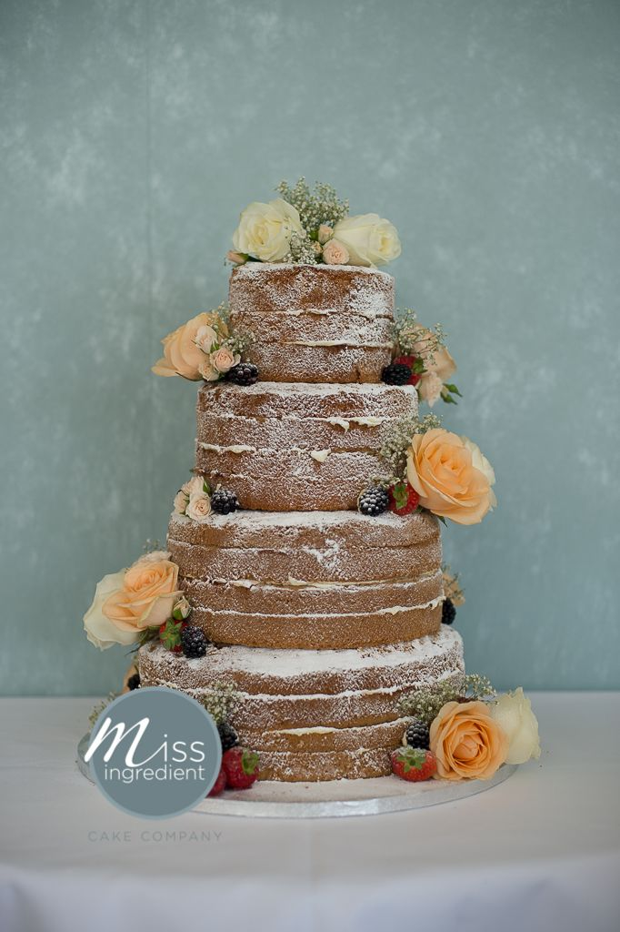 Naked Wedding Cake Without Icing By Miss Ingredient And Flowers By Parkwood  Florist