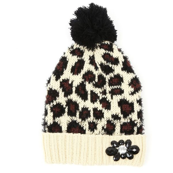 6be3117b274e8c Betsey Johnson Ivory Leopard Pretty Kitty Pom-Pom Beanie ($13) ❤ liked on  Polyvore featuring accessories, hats, leopard print hat, pom pom beanie hat,  ...