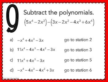 adding and subtracting polynomials stations maze activity