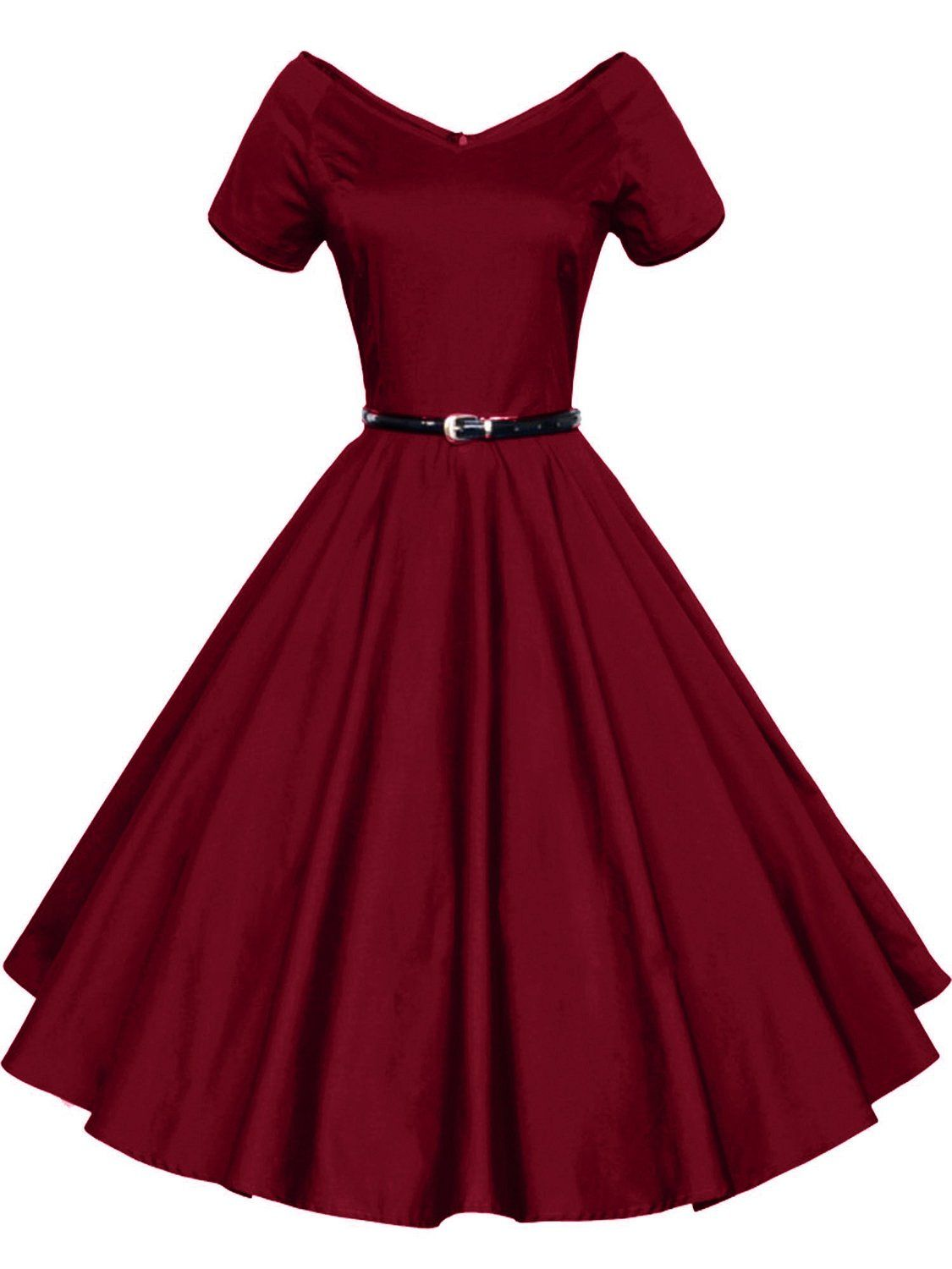 8e392c805af Amazon.com  iLover Women 1950s V-Neck Vintage Rockabilly Swing Evening Party  Dress  Clothing
