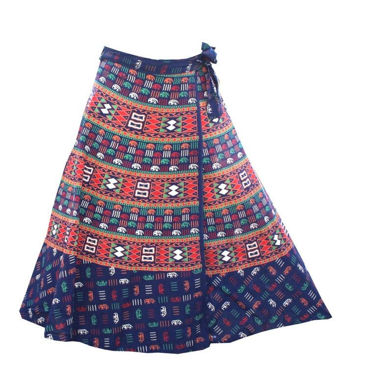 Women/'s Traditional and Stylish Rajsthani Wrap-Around Long Skirt with Printed Tie Bohemian Gypsy Hippie Boho Skirt Flamenco Skirt Sarong