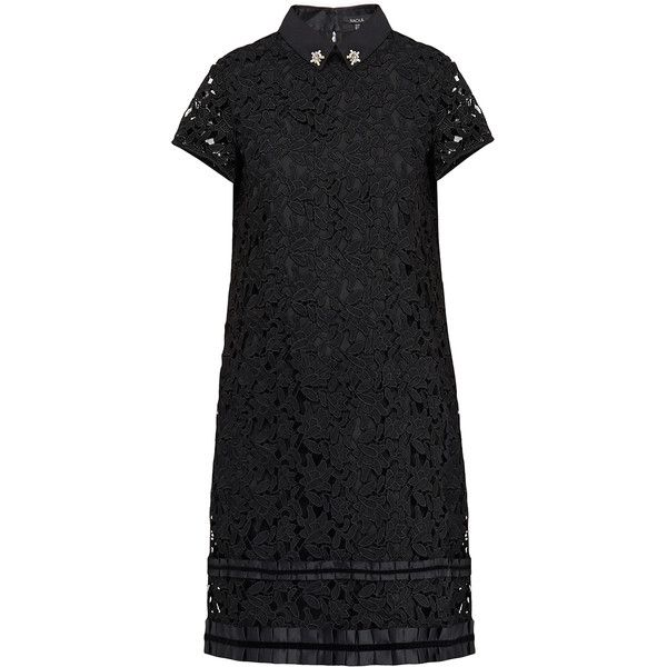 Raoul Shadi Black Lace Embellished Collar Dress 1480 Gtq