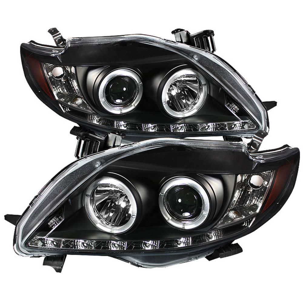 Spyder Auto Toyota Corolla 09 10 Projector Headlights Led Halo Drl Black High H1 Included Low H1 Included 5032515 The Home Depot In 2021 Toyota Corolla Projector Headlights Corolla