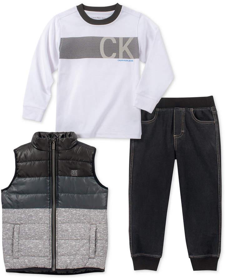 Calvin Klein Toddler Boys 3 Pc Vest Shirt Joggers Set Calvin Klein Baby Denim Jogger Pants T Shirt And Jeans