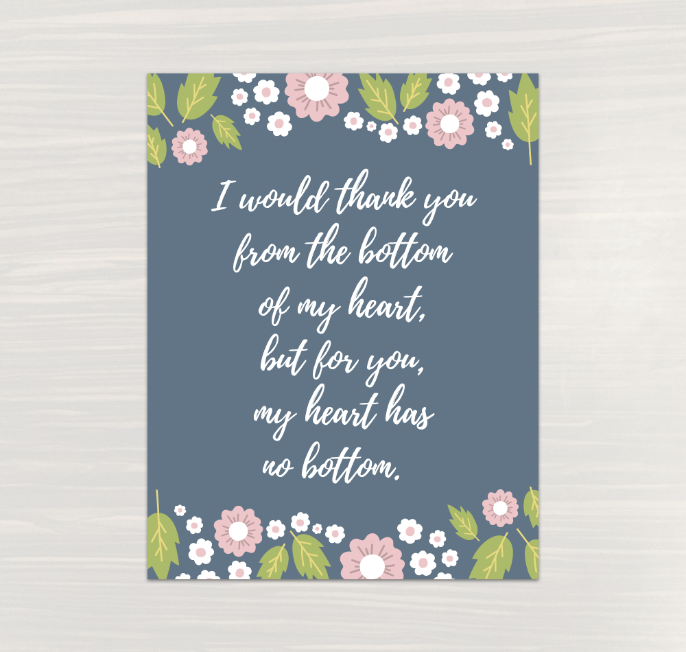 Thank Your From Bottom of My Heart Teacher Appreciation Quote Wall