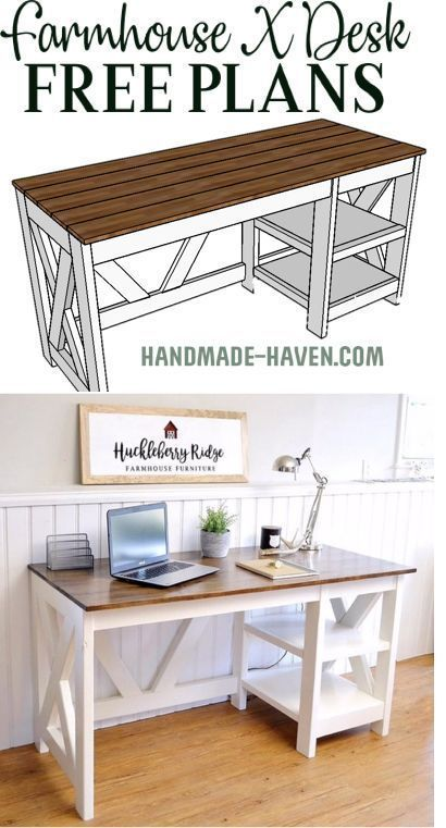 learning woodworking Free farmhouse desk plans - DIY Farmhouse Desk plans that will make your home office pop! Need an office desk to spice up the home office? Look no more! This Farmhouse X Desk will make your home office come to life.
