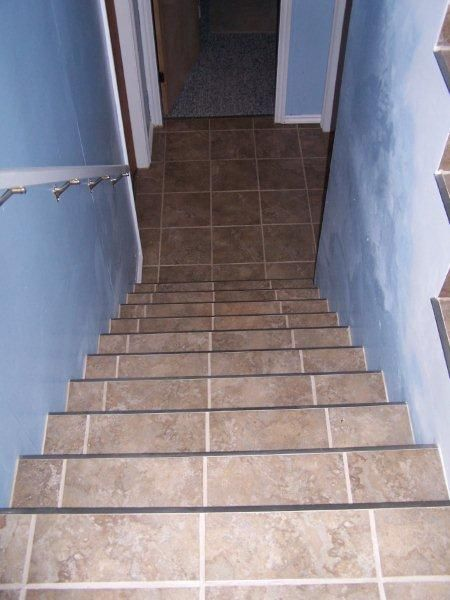 Can You Tile Stairs | Porcelain Tiled Stairs To Basement.Walls Since  Redecorated In Matching .