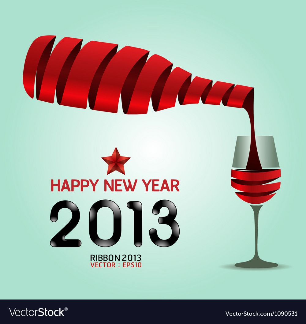 Happy New Year 2013 Ribbon Wine Bottle Shape Vector Image Affiliate Ribbon Happy In 2020 Infographic Design Template Circle Infographic Modern Business Cards