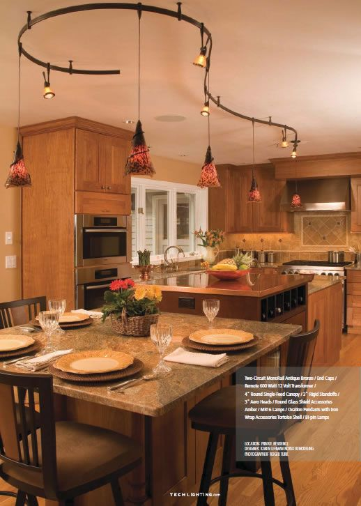 Eat in kitchen with tech lighting antique bronze two circuit eat in kitchen with tech lighting antique bronze two circuit monorail with tortoise shell ovation pendants with iron wrap accessories and 3 aero heads with aloadofball Image collections