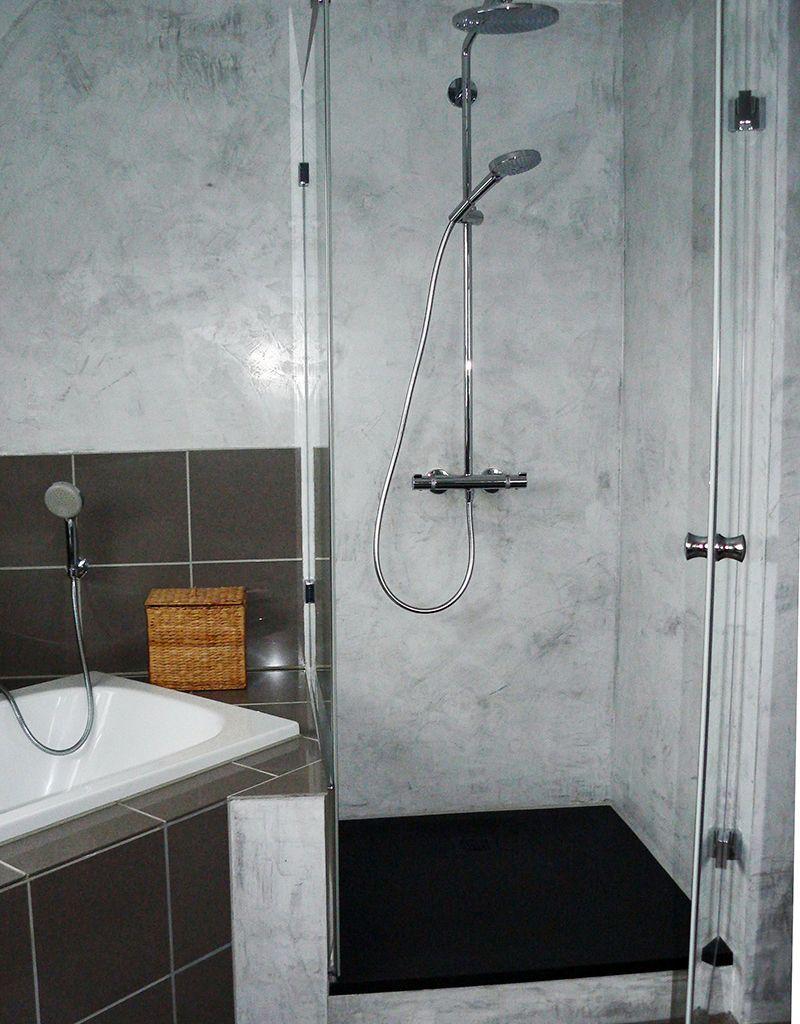 Stucco Veneziano In Der Dusche Hier Mit Graphit Silberpuder Eingefarbt Https Www Stucco Naturale Com Stucconatur Spachteltechnik Badezimmer Design Dusche