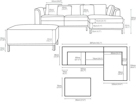 Image result for 4 seater sectional sofa size | Modern sofa ...
