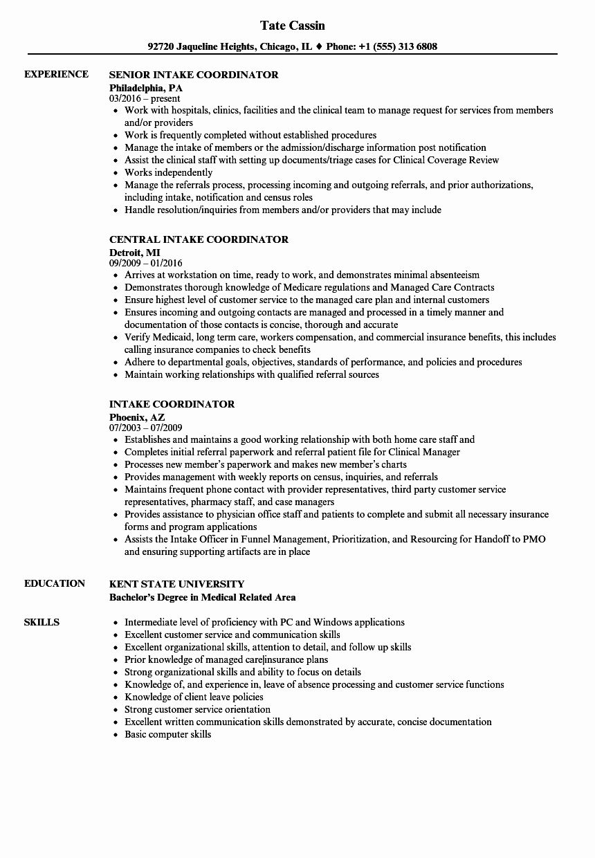 Patient Care Coordinator Job Description Resume