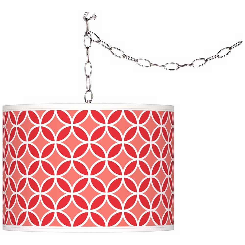Poppy Red Circle Rings Giclee Glow Plug In Swag Pendant Style X6786 Y9471 Pendant Lighting Plug In Chandelier Glow