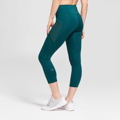 9451d7995ed2 Women s Embrace High-Waisted Laser Cut Capri Leggings - C9 Champion Dark  Green Xxl