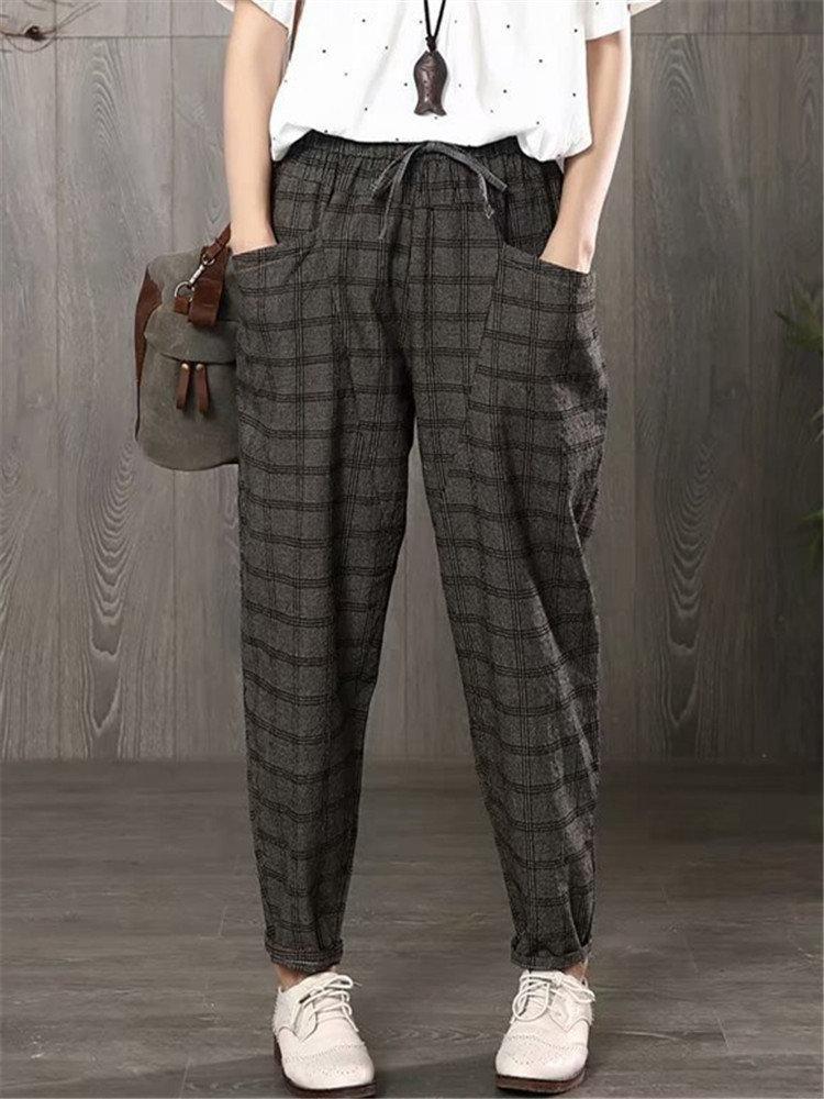 Vintage Plaid Elastic Waist Pants