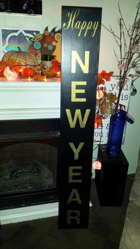 Happy New Year Wood Sign Distressed Wood Rustic Extra