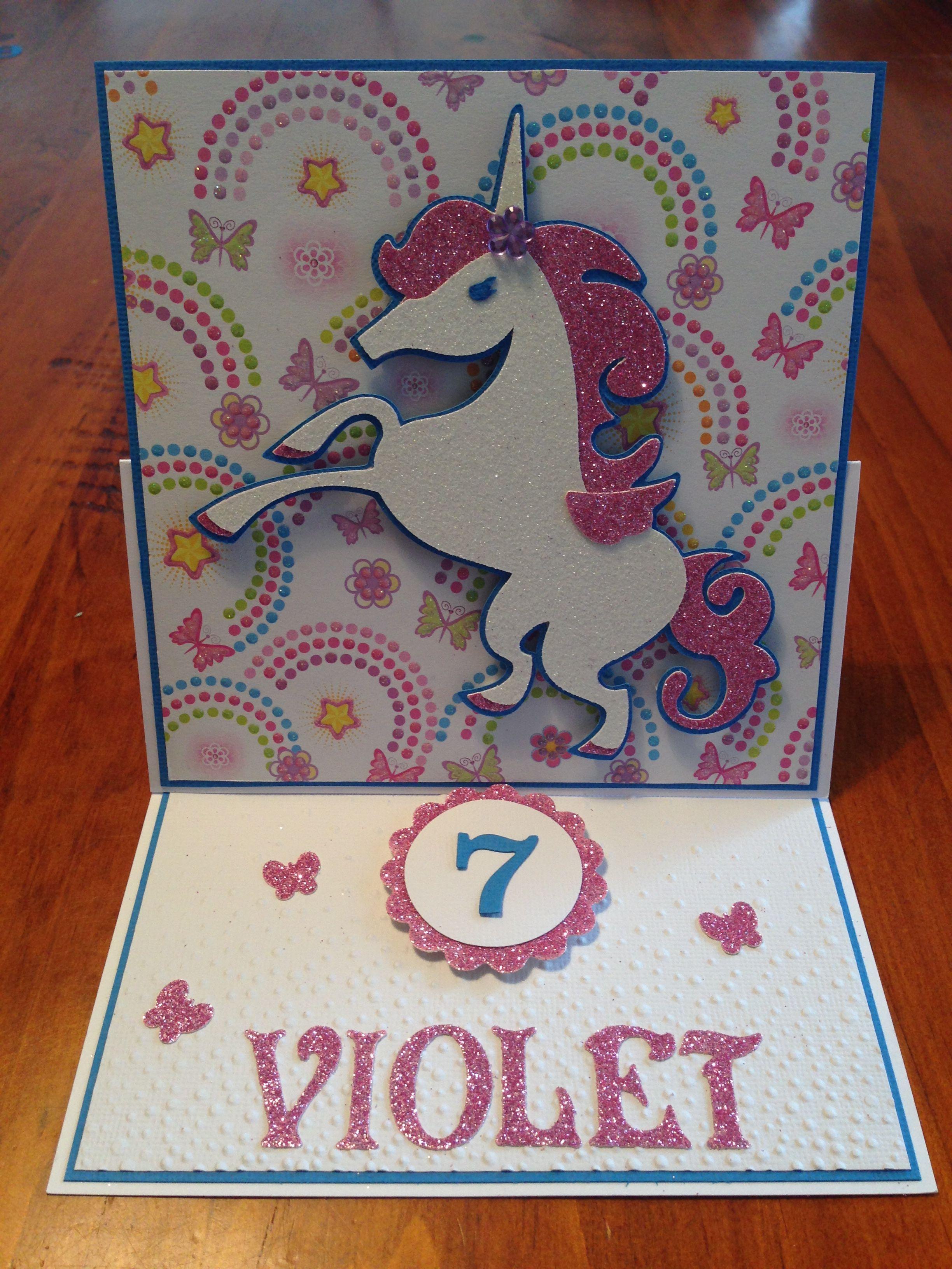 Unicorn Girls Birthday Card Cricut Unicorn Birthday Cards Girl Birthday Cards Handmade Card Making