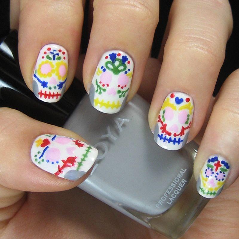 Sugar Skulls   Pinterest   Sugar skull nails, Skull nails and Nail nail